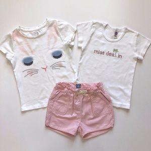 Gap pink shorts 3T Bunny Top &  Miss Destin Tee 4T